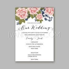 Wedding Invitation Cards Font Styles Rose Wedding Invitation Card Printable Template In Watercolor