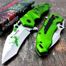 z hunter zombie tactical spring assited pocket knife with clip