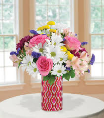 Mosiac Vase Pure Happiness With Pink U0026 Red Vase Blooms Today