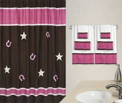 Chocolate Brown Shower Curtain Cowgirl Fabric Bath Shower Curtain For Girls Pink Paisley