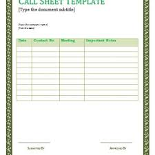 free call sheet template for film crew helloalive