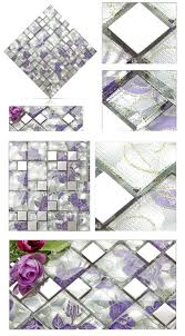 11 sheets lot purple glass mosaic tile backsplash stainless steel