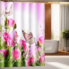 Maytex Mills Shower Curtain Pink Flowers Butterfly 3d Photo Digital Printing Bath Waterproof