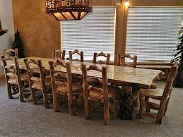 interior divine rustic dining room decoration with rustic log