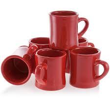 diner coffee mug set of 6 red vintage ceramic coffee cups