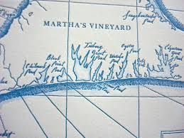 Nantucket Map Martha U0027s Vineyard Letterpress Printed Map Nautical Blue