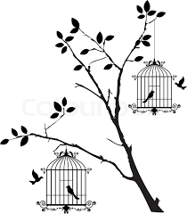 vector illustration of tree silhouette with birds flying and bird in