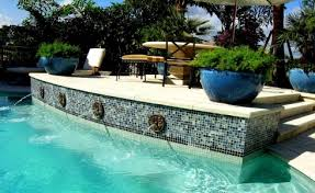 Waterfall Glass Tile Glass Tile Swimming Pools Gallery Df Pools