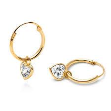 children s hoop earrings fearless heart cz dangle hoop earrings 14k gold children s