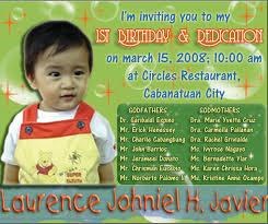 birthday u0026 dedication invitation laurence johniel h javier