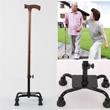 Walking Up Stairs With Crutches by Aluminium Adjustable Quad Cane Walking Stick Aid Handy Grip 4 Legs