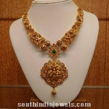 antique necklace images Gold antique necklace with diamond polki stones south india jewels jpg