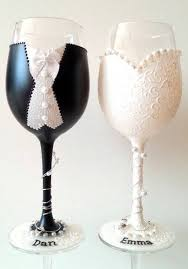 wine glasses for wedding and groom goblets in a dress and tux diy crafts wine