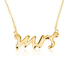 carrie necklace gold mrs necklace say yes necklace mrs pendant 925