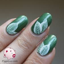 piggieluv green one stroke leaves nail art video tutorial