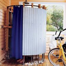 Shower Curtain Ideas Pictures Blue Shower Curtain For Simple Outdoor Shower U2014 Bitdigest Design