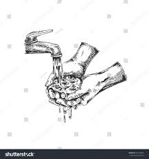 vector illustration sketch hands hands washing stock vector