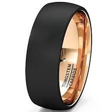 Mens Wedding Rings by Mens Wedding Band Black Tungsten Ring 8mm Rose Gold Inside Matted