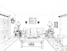 draw room one point perspective living room drawing coma frique studio