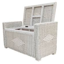 chest storage ottoman adam color white wash with cushion handmade