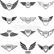 winged emblems frames icons and wings design