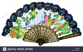 japanese folding fan japanese folding fan of paper fabric and bamboo stock photo