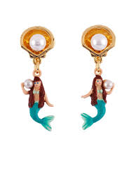 mermaid earrings i am a mermaid with shell and pearl earrings les néréides
