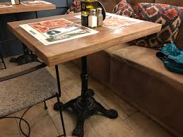 Reclaimed Wood Bistro Table Cast Iron Bistro Tables Mortise Tenon