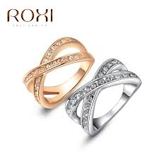 platinum crystal rings images 2017 roxi rose gold wedding cross ring white color with aaa zircon jpg