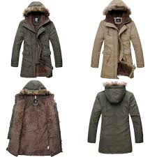 men s military hooded fur collar winter warm long coat jackets