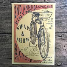 vintage old bike bicycle paint kraft paper poster retro living