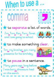 english teaching worksheets commas