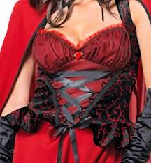 dark little red riding hood fancy dress gothic red cosplay long