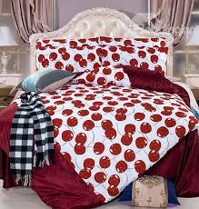 bright red cherry print 4 piece coral fleece duvet cover sets