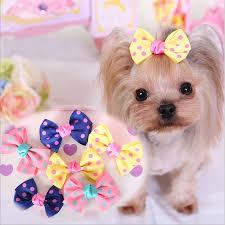 dog ribbon 10pcs lot ribbon pet hair accessories yellow blue