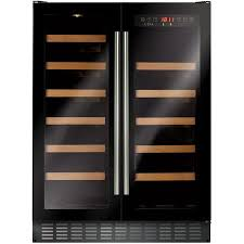 CDA FWC624BL 60cm Under Counter Double Door Wine Cooler Black