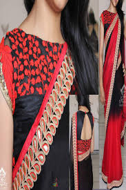 Red Color Combination Black And Red Color Combination Aesthetic Worked Georgette