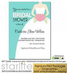 wedding gown turquoise blue bridal shower invitation starlite