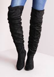 womens boots yuu the knee flat boots suede black