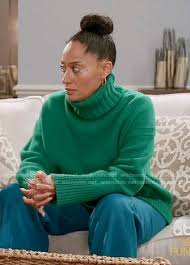 green sweater wornontv rainbow s green turtleneck sweater on black ish tracee