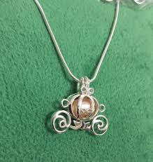 s day locket 925 sterling silver pumpkin carriage pearl cage locket necklace diy