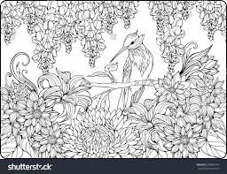 coloring page bird on branch garden stock vector 399985729