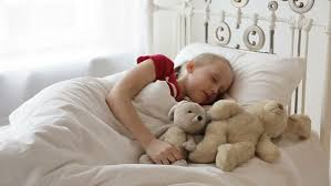 Girls In Bed by Young With Toy Sleep In Bed Sheltered White Blanket The Child