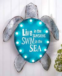 new lighted coastal sign turtle themed home decor seaside