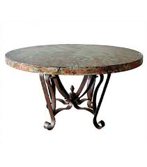 oxidized copper top dining table wrought iron base 3 sizes