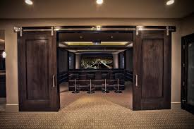 Barn Movie Movie Theater Carpet Home Theater Contemporary With Sliding Barn