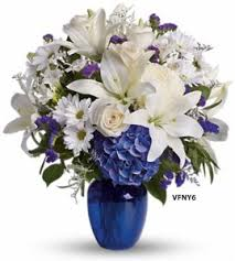 white floral arrangements happy blue and white flower arrangement in williston park ny