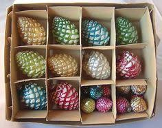 large vtg pine cone tree mercury glass chartreuse
