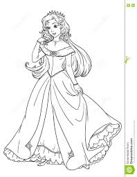 coloring page with beautiful princess in pretty dress stock