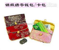 purse gift bags small silk fabric coin purse women credit card holder zipper